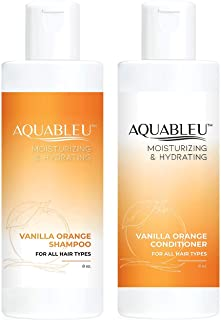 Aquableu Sweet Orange Vanilla Shampoo & Conditioner Set – Natural Moisturizing, Soothing Formula For Dry & Damaged Hair - Sulfate & Paraben Free - For color treated hair - For Men & Women. (8 oz)