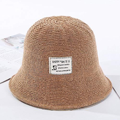 LIUKLAI Sombrero de Cubo de Punto de Color Liso paño de Seda de Seda Sombrero de Cuenca estándar Sombra literaria Femenina Sombrero de Pescador-3_1