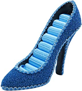 WE Sparkly High Heel Shoe Ring Holder Fashion Jewelry Display Gift Turquoise