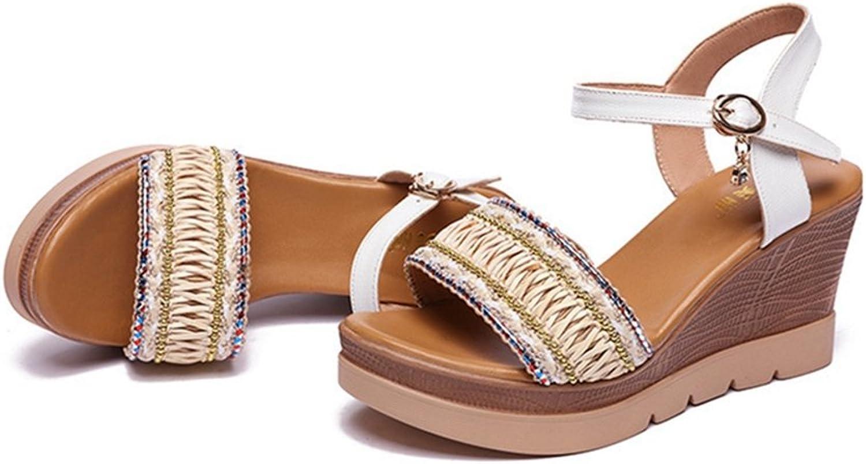 GIY Women's Bohemian Platform Sandals Peep Toe Anti-Slip Summer Beach Wood Dress Wedge Sandals shoes