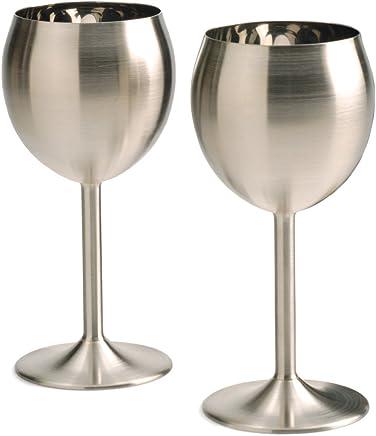 RSVP Endurance Stainless Steel Drinkware,  Wine Glasses,  Set of 2