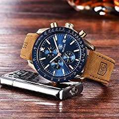 BENYAR Classic Fashion Elegant Chronograph Watch Casual Sport Leather Band Mens Watches (Brown-Blue) #4