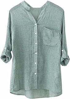 c15c96ef5ab1 Amazon.es: lino - Camisetas, tops y blusas / Mujer: Ropa
