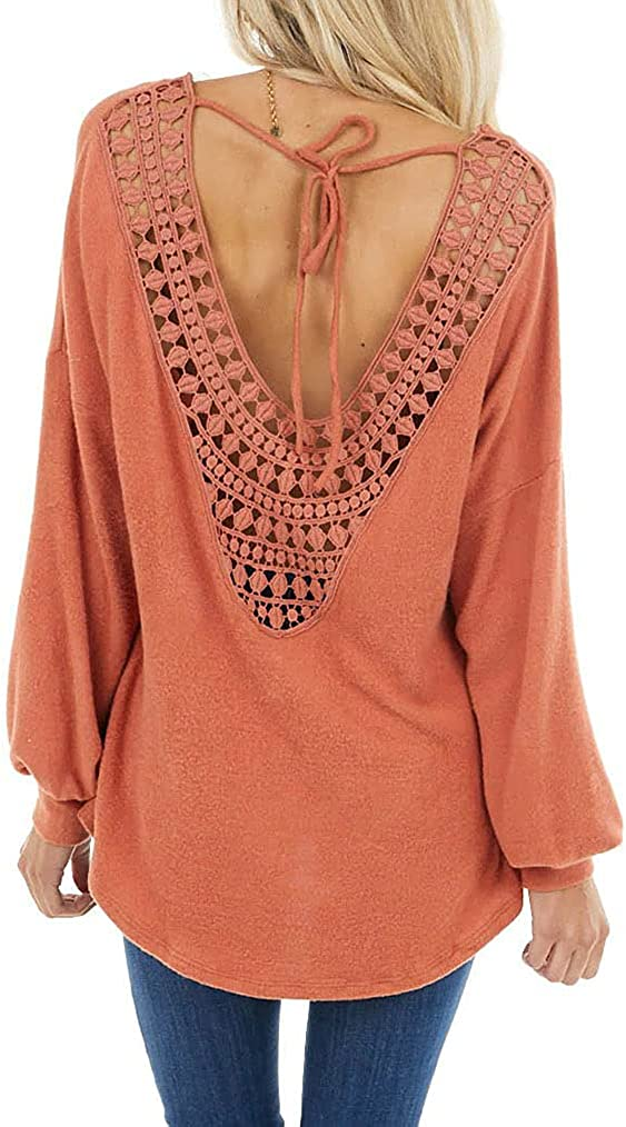 Tobrief Women's Long Sleeve Tops Crochet Lace Tunic Backless Casual Loose Blouses Shirts