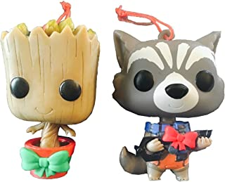Groot and Rocket Pop Bobblers Hanging Christmas Ornaments Marvel Collectors Corp Exclusives