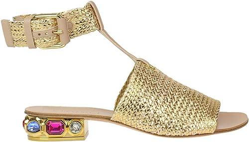 Casadei Damen MCGLCAB000005010E Gold Leder Sandalen