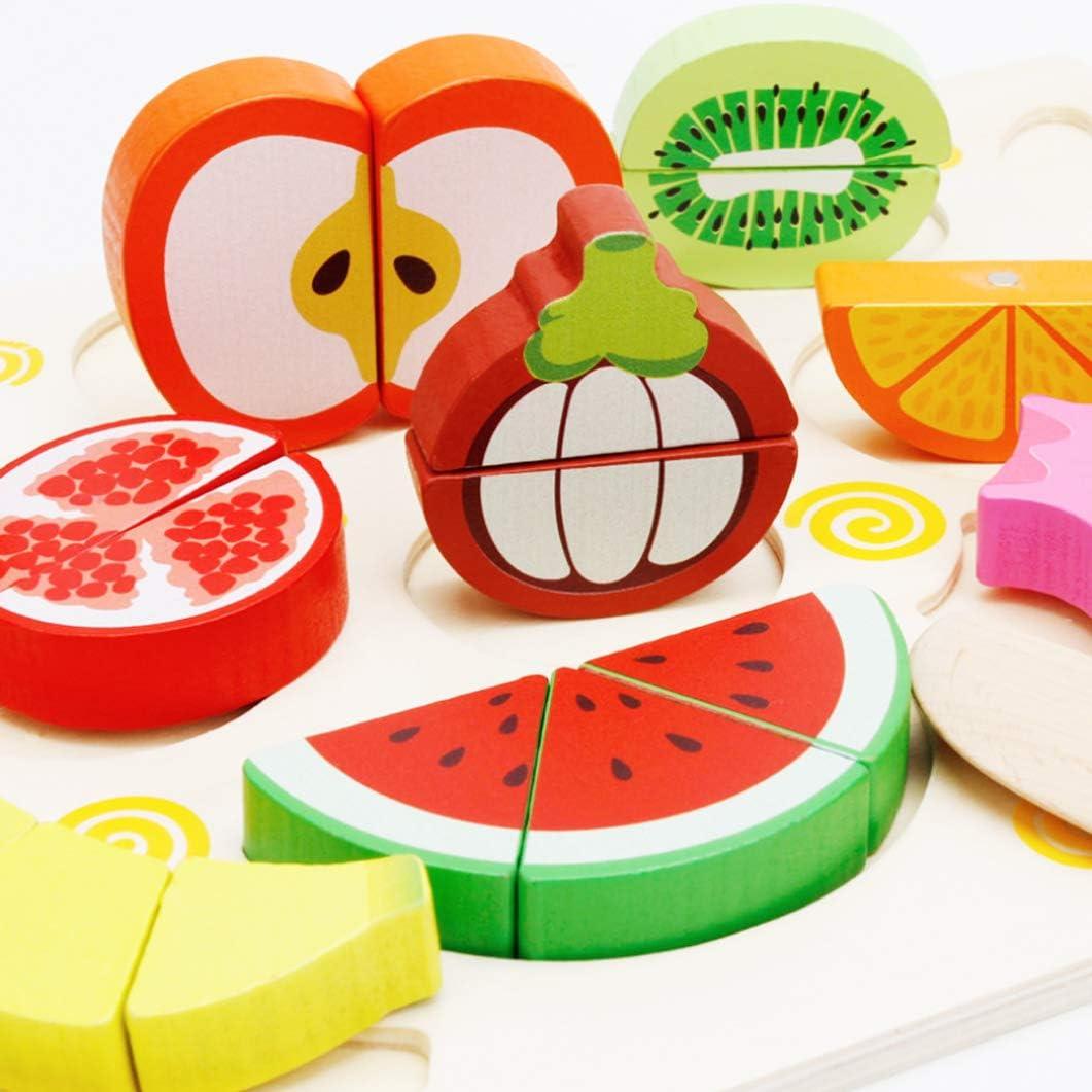 Colourful Animal Puzzle,Holz Obst Gem/üse,holz obst gem/üse spielzeug Holz Obst Gem/üse Spielzeug Set,Wooden Puzzle for Children,Wooden Montessori Toy,Lernspielzeug Geschenk,Kochen K/üche Rollenspiel