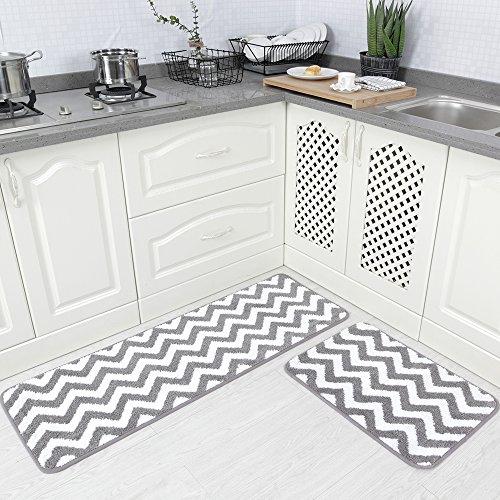 "Carvapet 2 Pieces Microfiber Chevron Non-Slip Soft Kitchen Mat Bath Rug Doormat Runner Carpet Set, 17""x48""+17""x24"", Grey"