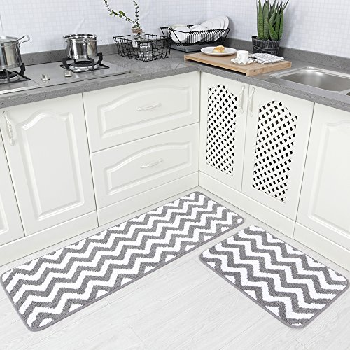 "Carvapet 2 Pieces Microfiber Chevron Non-Slip Soft Kitchen Mat Bath Rug Doormat Runner Carpet Set, 17""x48""+17""x24"", Grey"