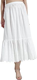 BEAUTELICATE Damen Unterrock 100% Baumwolle Vintage Lang Halbrock Mit Spitze Stickerei Dirndl Petticoat Ivory 70CM 80CM Größe S M L