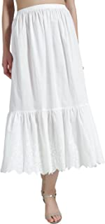 BEAUTELICATE Half Slip Skirt Extender 100% Cotton Vintage Underskirt with Lace Embroidery Ivory Size S M L