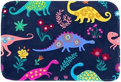EGGDIOQ Doormats Dinosaurs Blue Pattern Custom Print Bathroom Mat Waterproof Fabric Kitchen Entrance Rug, 23.6 x 15.7in