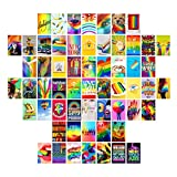 Gemelli Code Wall Collage Kit – 60Pcs Aesthetic Pictures for Cute Room Decor – 4 x 6 Inch Inspirational Wall Art for Girls, Boys, Adults, LGBT, Teen Room Decor – Ultra-Thick Matte Cardstock with Vivid Rainbow Colours