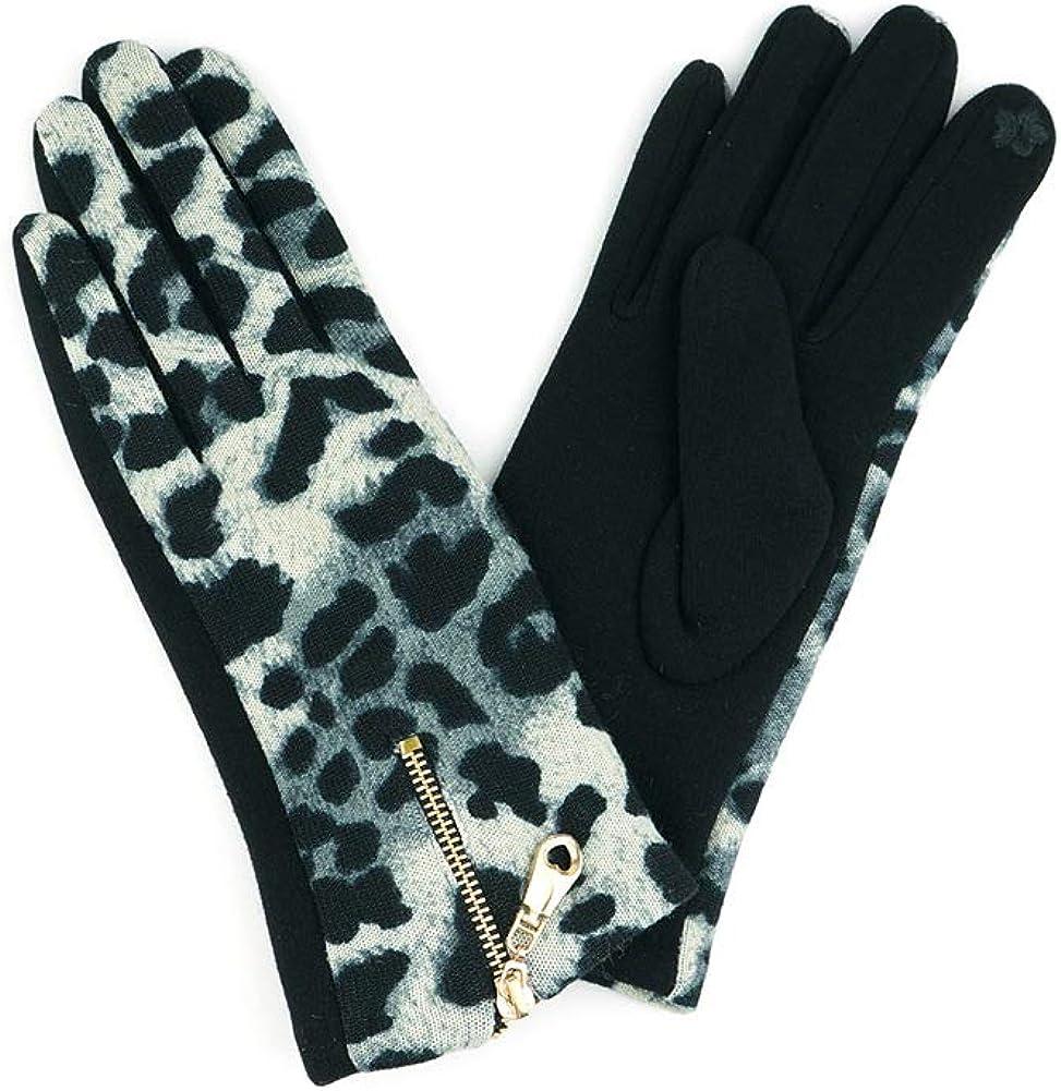 JINS CLOSET Women's Winter Leopard Zipper Smart Touch Gloves
