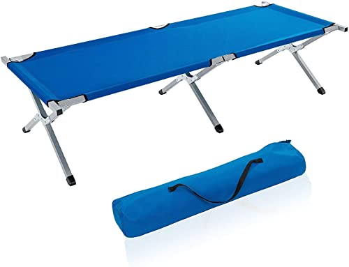 EGLEMTEK Lit de Camping Camping en métal, Charge jusqu'à 150 kg, avec Sac de Transport, revêteHommest en Tissu Oxford, Bleu, 190 x 64 x 44 cm