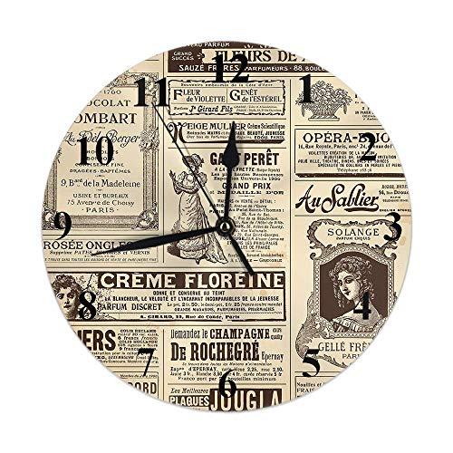 Paris Clock Vintage France Periódico Francés Chica Mujer Letra Cita Reloj de Pared Redondo Silencioso Sin tictac Decoración rústica para el hogar 10 Pulgadas para Cocina Baño Oficina Marrón