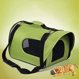 One-Shoulder Pet Carrier Crate Portable Outdoor Pet Bag Good Breathable Comfort Multi-Color Optional CQOZ (Color : Green, Size : 31×21×20cm)
