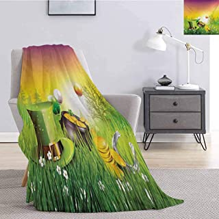 Luoiaax St. Patricks Day Bedding Fleece Blanket Queen Size Magical Scene Party Celebration Meadow Balloons Hat and Gold Lightweight Life Comfort Blanket W70 x L93 Inch Green Purple and Yellow