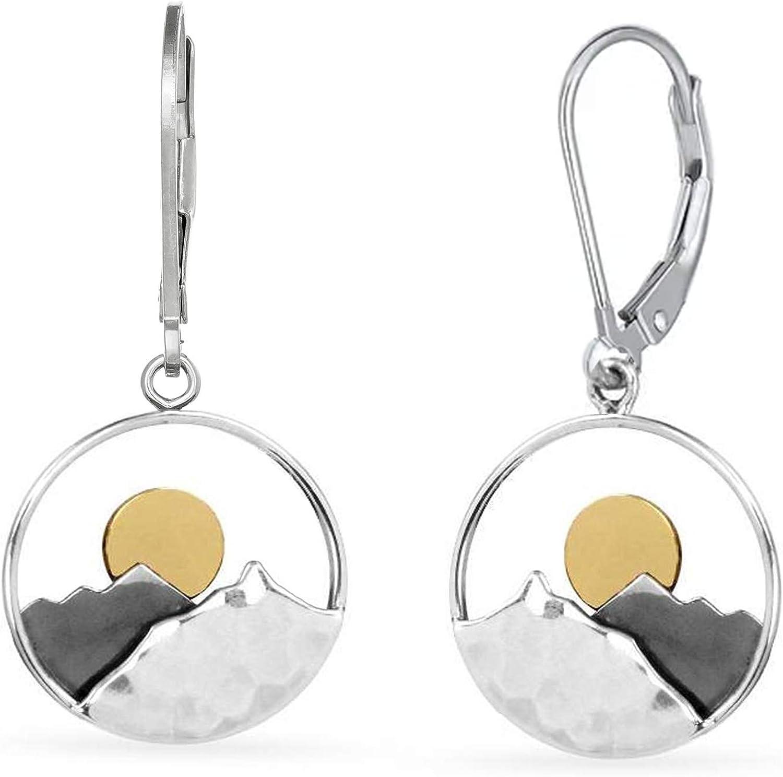 [Alternative dealer] OFFer Sun and Mountain Earrings • Sterling Char Silver Circle