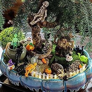 halloween fairy garden accessories mini miniature decor patio yard garden dollhouse cake ornaments pumpkin figurines hallowmas kits for boy girl spiders skull ghost witch string light