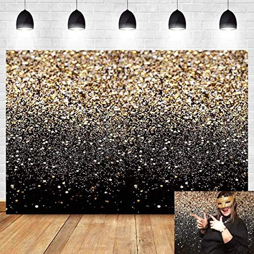 Gold Glitter Black Starry Sky Shining Photo Background Sequin Spot Bokeh Photography Backdrops for Wedding Adult Baby Portrait Shooting Banner Photobooth Props Props Studio Cake Table Banner 5x3ft