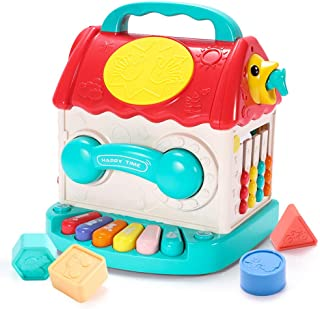 Children's Multifunctional Educational Game House, Baby Activity Cube Interactive Educational Toys, Telephone Sand Hammer,...