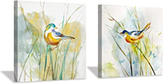 """Hardy Gallery Abstract Birds Picture Wall Art: Colorful Animal Birds & Grass Painting Canvas Print Artwork for Wall (12"""" x 12"""" x 2 Panels)"""