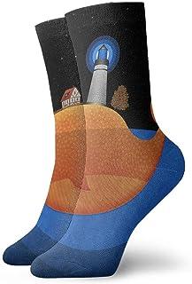 tyui7, Calcetines de compresión antideslizantes de faro de ballena divertidos de dibujos animados Calcetines deportivos de 30 cm acogedores para hombres, mujeres, niños