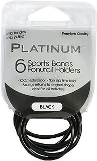 Platinum Sport Band Ponytail Holder, Black, Pack of 6