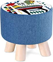 Solid Wood Footstool Creative Sofa Stool Living Room Change Shoe Bench Household Dressing Stool Round Stool Cartoon Patter...