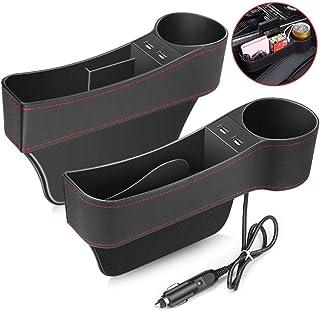 Los asientos del coche Gap Filler, asiento de coche del asiento delantero con Gap Organizador de la Copa titular / 2 puertos USB, superior de la PU del cuero Consola bolsillo lateral del coche organiz