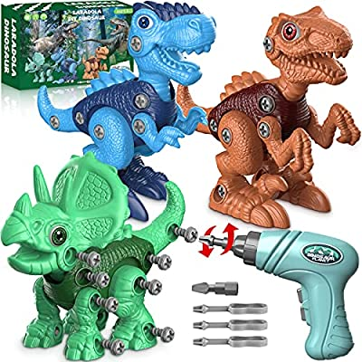 Dinosaur Toys for 3 4 5 6 7 Year Old Boys, Take Apart Dinosaur Toys for Kids 3-5 STEM Construction Building Toys with Electric Drill for Kids Ages 3-8, Dinosaur Toys Birthday Easter Gifts Boys Girls from Laradola
