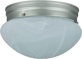 Sunlite HALL6/BN 6-Inch Mushroom Ceiling Fixture, Brush Nickel Finish with Alabaster Glass