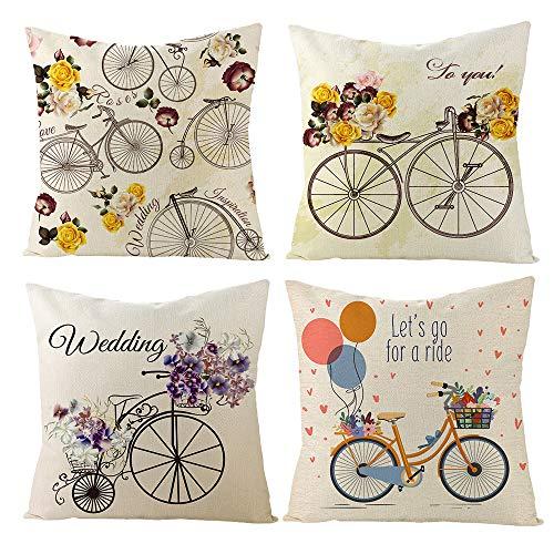 ARNTY Federa per Cuscino 45x45cm, Federa Copri Cuscino Decorativo Caso Stampa Floreale Divano Letto Home Bed Decor (Bici, Lino di Cotone)