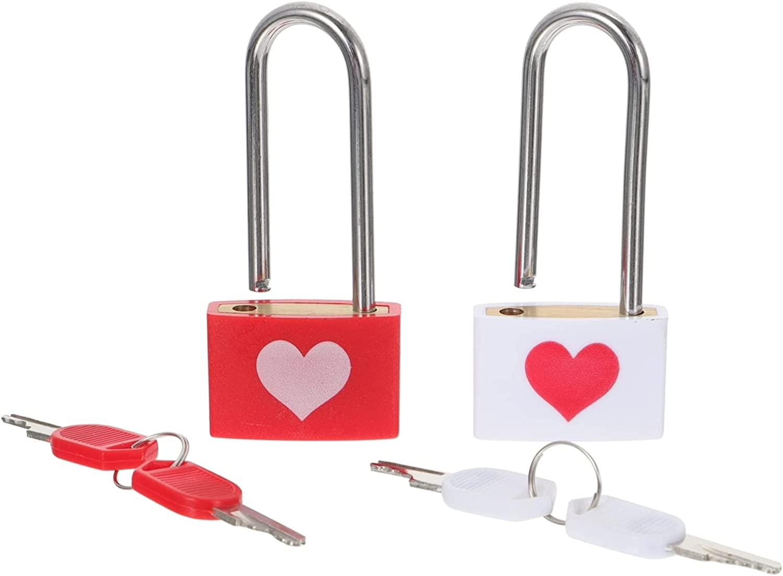 Attention brand DOITOOL 2Pcs Love Lock Padlock Max 44% OFF Mini Box Jewelry Key Pa with