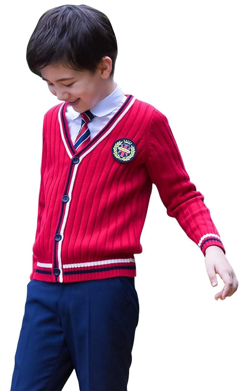 Cloudkids 子供服 フォーマル スーツ キッズ 男の子 女の子 5点セット カーディガン 長袖 ニット シャツ ネクタイ バッジ ズボン スカート 入学 卒業式