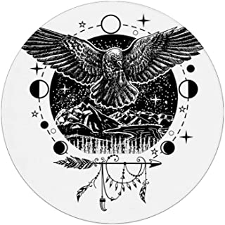 Coasters for Drinks   Absorbent Drink Coaster Decor (4-Piece Set)  ,Sketch Tattoo Art Bird Spread Wings with Nature Moon Phases Boho Elements