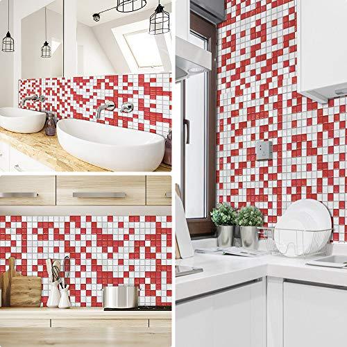 Pegatinas de azulejos para cocina Mosaico baños ladrillo escaleras suelo 20x20 cm, Rojo Blanco papel simulación rueba de aceite vinilo autoadhesivo impermeable baldosas hidraulicas Actualizar