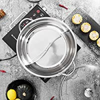 ステンレス鋼の鍋しゃぶしゃぶ鍋、 厚み付け誘導マンダリンダックポット 調理器具食事2グリッド2味ノンスティック ディバイダー&フタ付き,12.5 inches