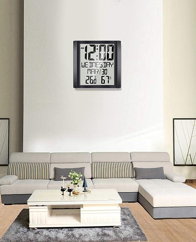 デマンド広いカイウスCestMall 掛け時計 壁時計 デジタル 置き時計 掛時計 クロック カレンダー 曜日 温度 湿度 スヌーズ機能付き デジタル時計 大型 目覚まし時計 黒い リビングルーム 部屋 オフィス 台所用 シンプル おしゃれ