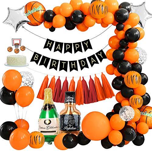 Decoracion fiesta cumpleaños, globos de baloncesto, globos de látex de color naranja negro, pancarta HAPPY BIRTHDAY, adorno de pastel de baloncesto para Decoración de fiesta temática deportiva