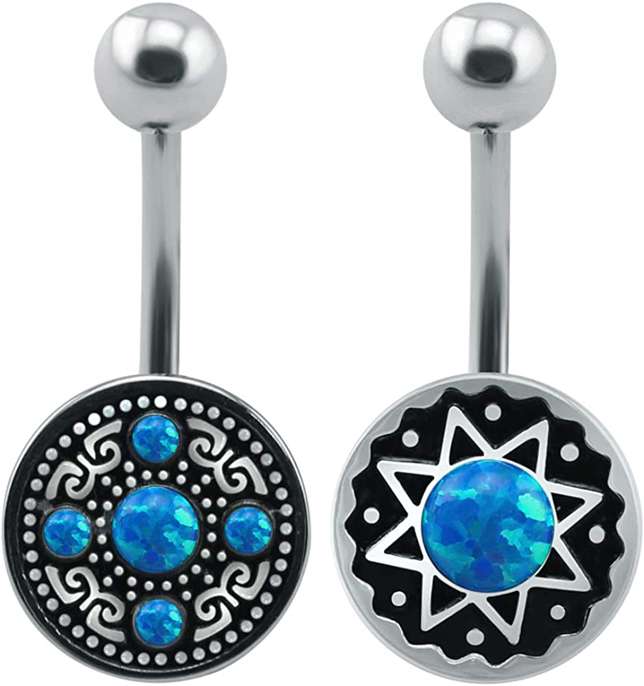 ZS 14G Opal Belly Button Rings Curved Barbell Navel Piercing Cute Belly Rings Body Jewelry for Women Girls