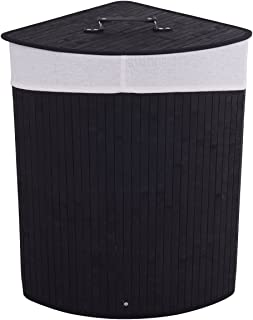 Giantex Corner Laundry Hamper W/Lid, Handle and Removable Cloth Bag for Cloth Storage and Organize Bamboo Laundry Basket Bin (Black)