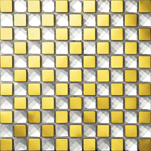 NEW !Lucente mosaico del diamante quadrato Vetro e acciaio inox mosaico mattonelle arte della parete 300*300mm--Cucina Backsplash/Parete da bagno/decorazione domestica(SB015) (11 tappetini /m², SB015-13)