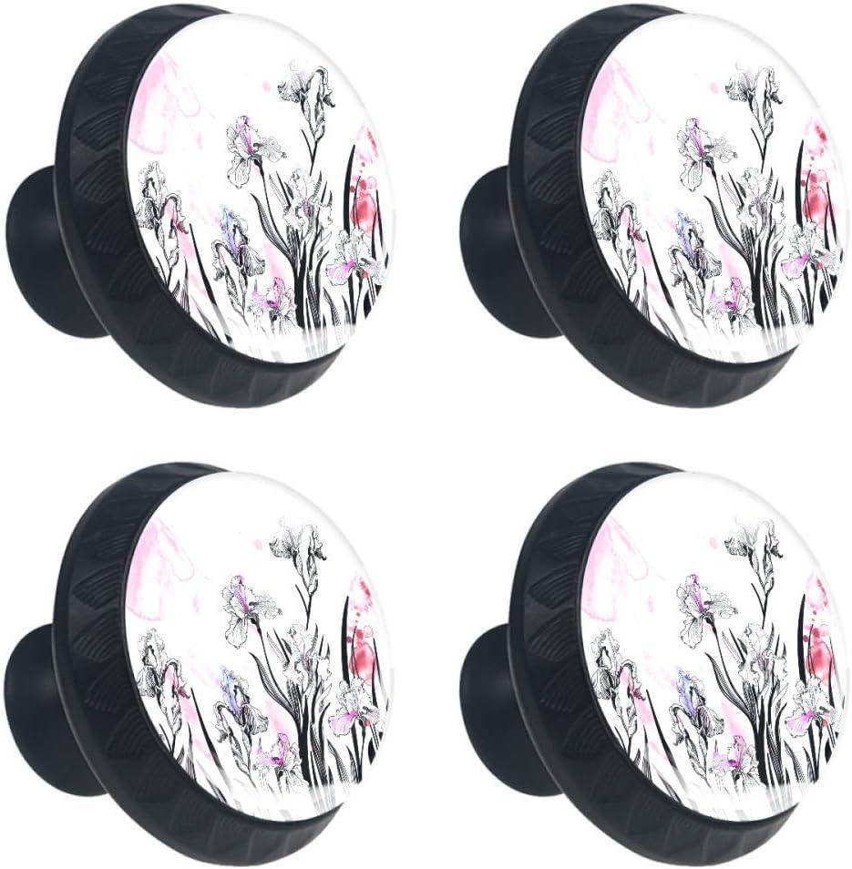TIKISMILE Watercolor Irises Background Drawer C New popularity Award-winning store Knob Pull Handle