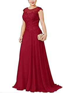 kxry Women's Chiffon Beaded Mother of Bride Dresses Long Sleeve Evening Party Dress Plus Sizes