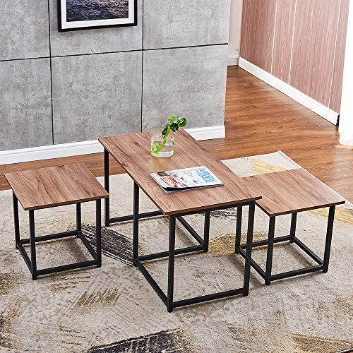 BOJU Accent 3 Pieces Living Room Coffee Table Set Large Coffee Table with 2 Side Stools Nest of Table Set of 3 Wood Tabletop with Black Metal Frame Small Sofa End Side Table for Bedroom