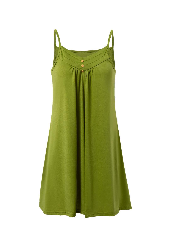 Available at Amazon: Fleur Wood Women's V Neck Spaghetti Strap Pleated Cami Dresses Loose Sleeveless Beach Sundress