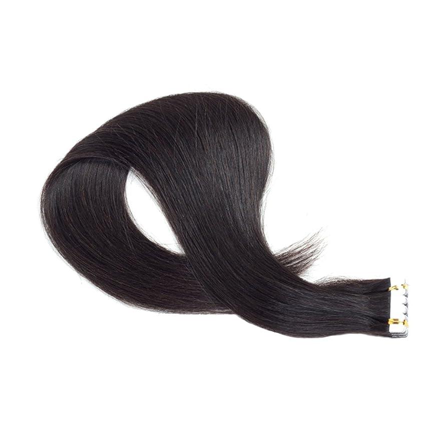 受粉するパネル氏Healifty 女性のための本物の人間の毛髪延長絹のようなストレートのヘアーテープ(黒レミーの髪)90 CM