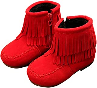 Hopscotch Girls PU Moc Style Fringed Boots in Red Color